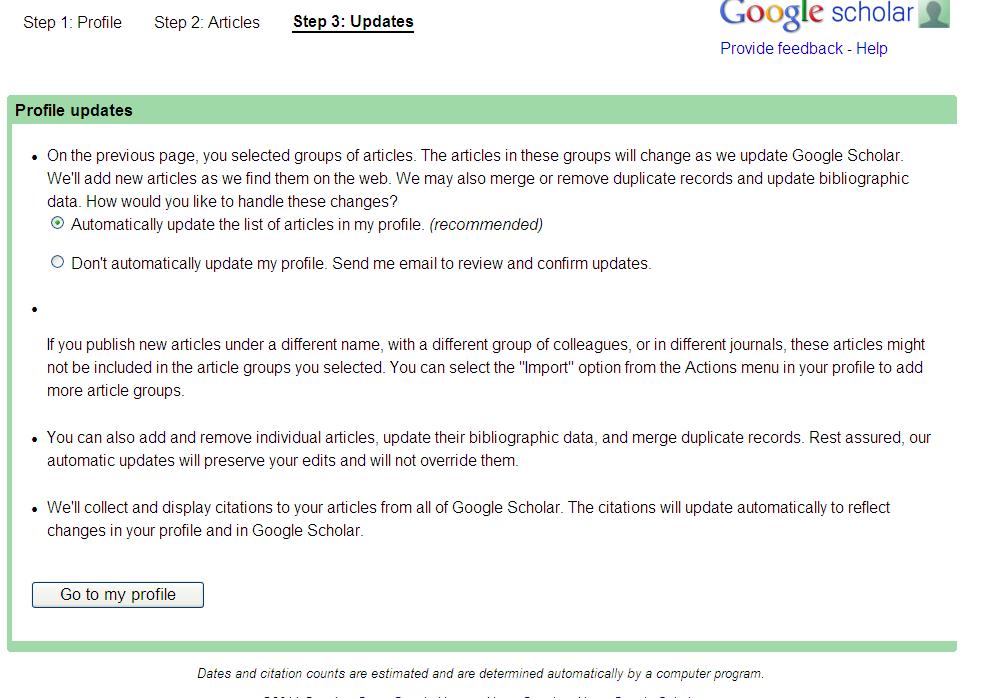 Google Scholar Citations – an easy way to get citation